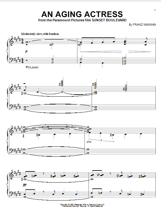 Download Franz Waxman 'An Aging Actress' Digital Sheet Music Notes & Chords and start playing in minutes