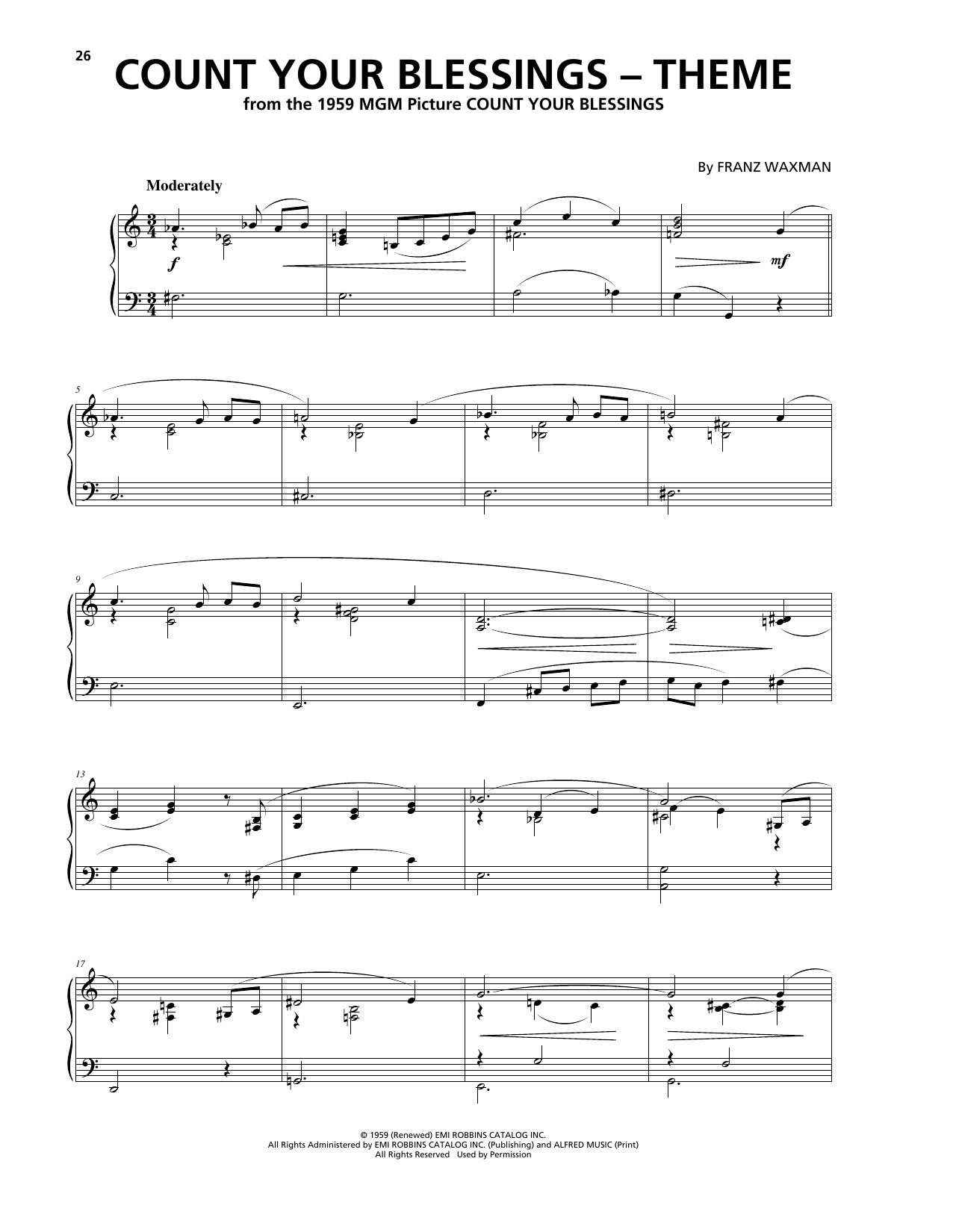 Download Franz Waxman 'Count Your Blessings (Theme)' Digital Sheet Music Notes & Chords and start playing in minutes