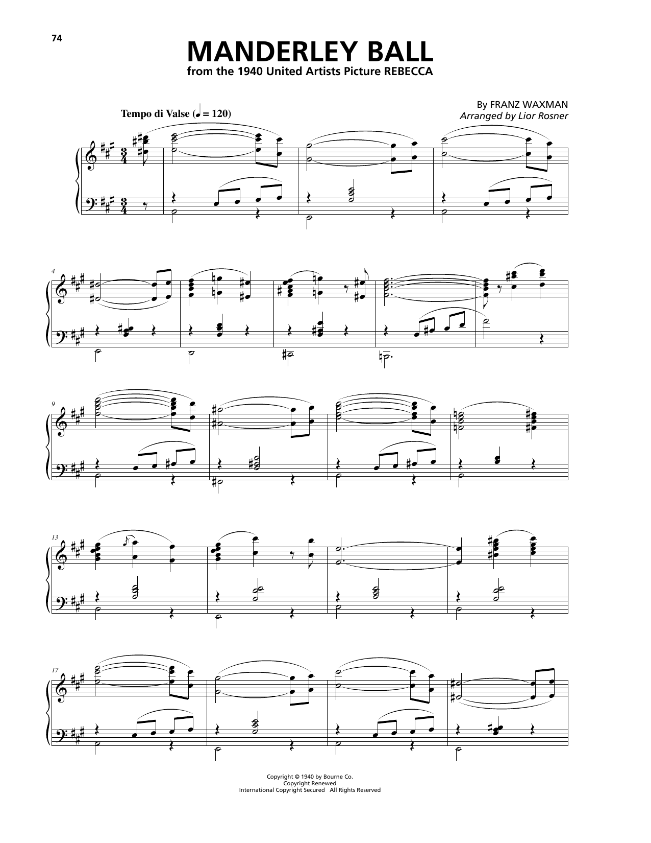 Download Franz Waxman 'Manderley Ball' Digital Sheet Music Notes & Chords and start playing in minutes