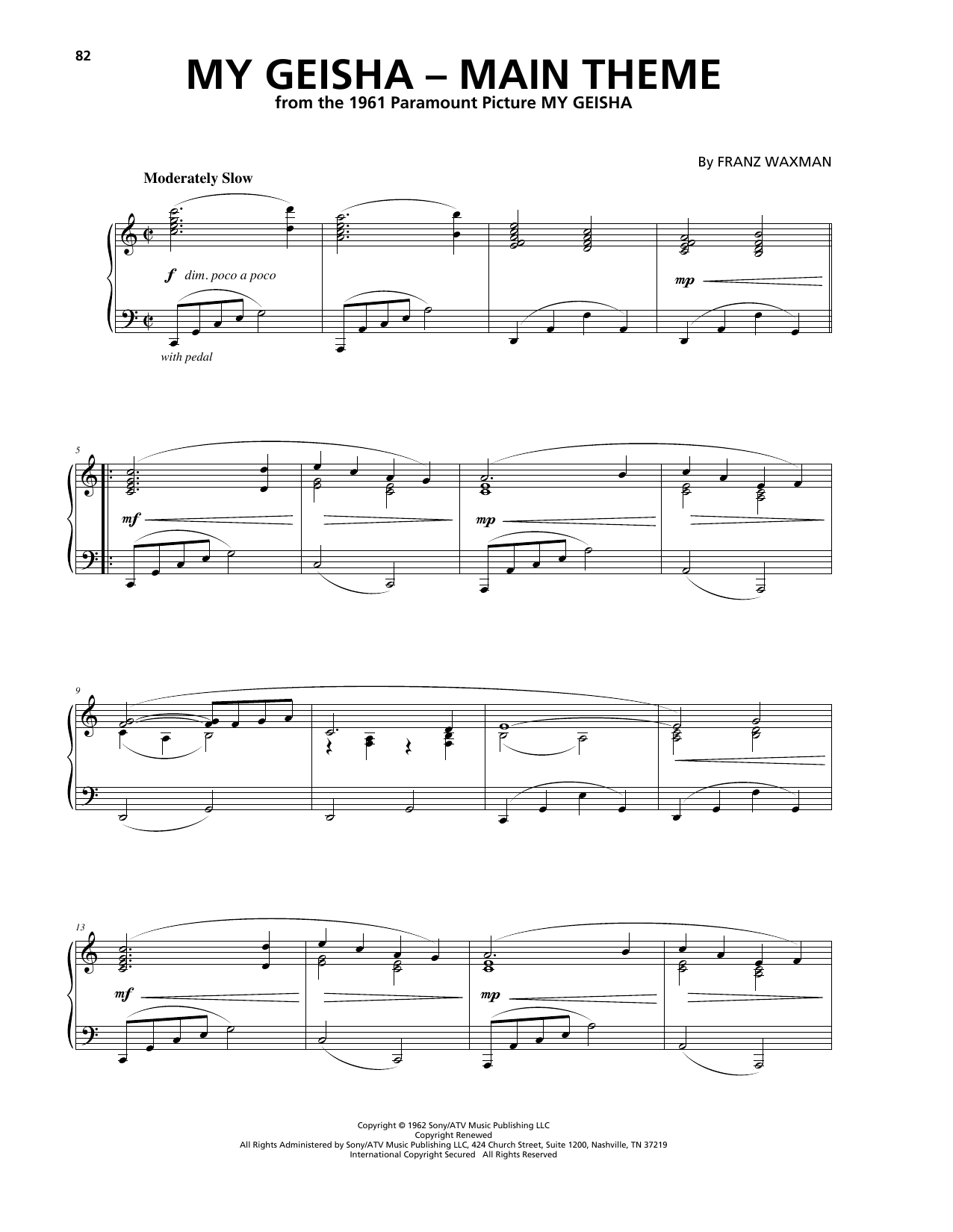 Download Franz Waxman 'My Geisha - Main Title' Digital Sheet Music Notes & Chords and start playing in minutes