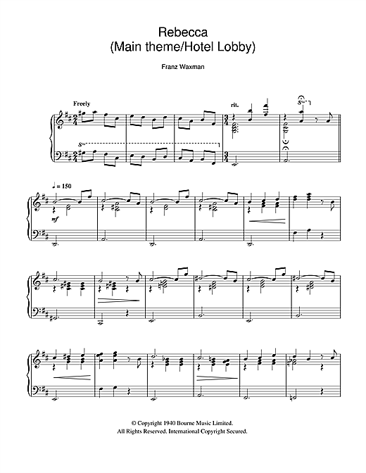 Download Franz Waxman 'Rebecca (Main Theme/Hotel Lobby)' Digital Sheet Music Notes & Chords and start playing in minutes