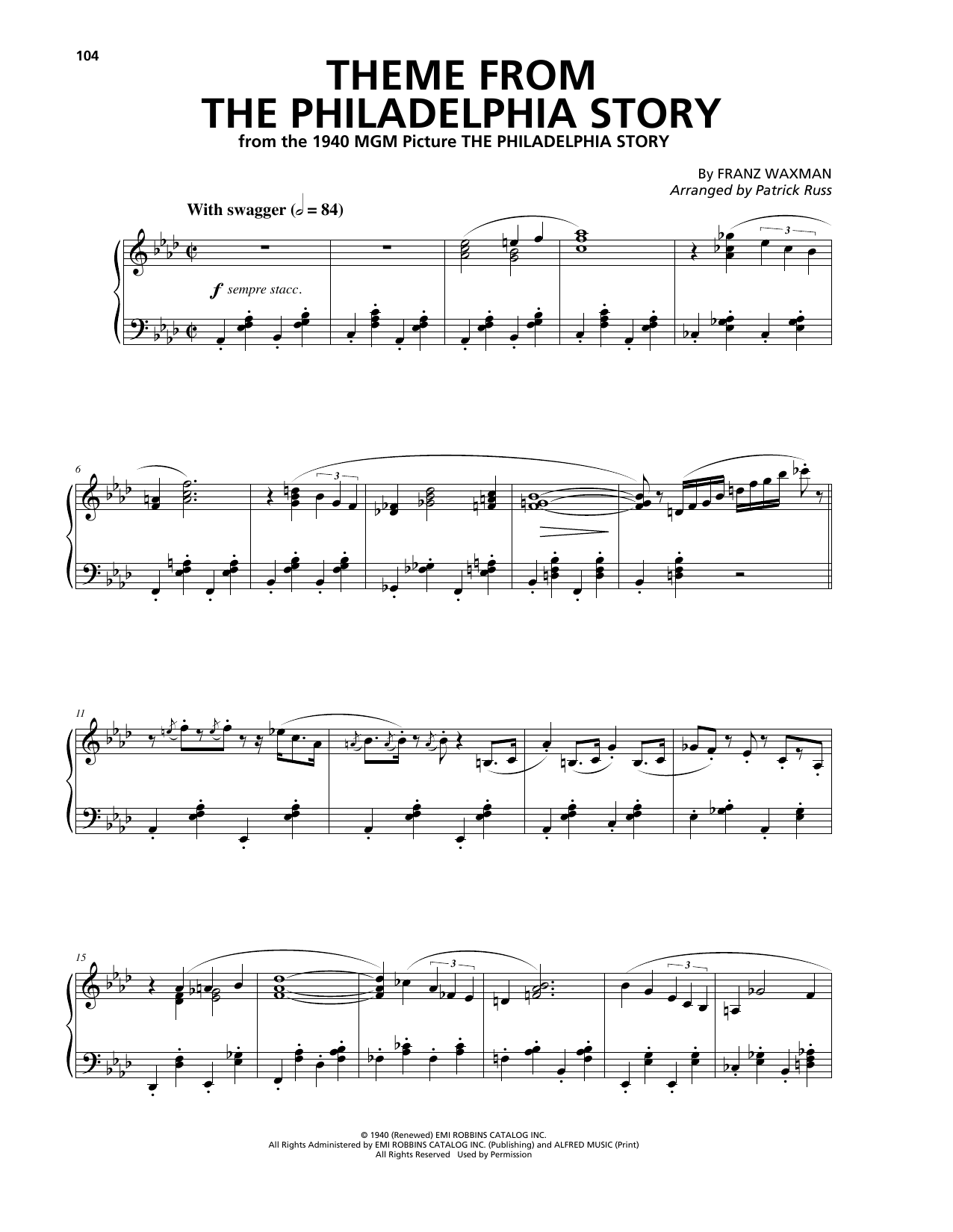 Download Franz Waxman 'Theme From The Philadelphia Story' Digital Sheet Music Notes & Chords and start playing in minutes