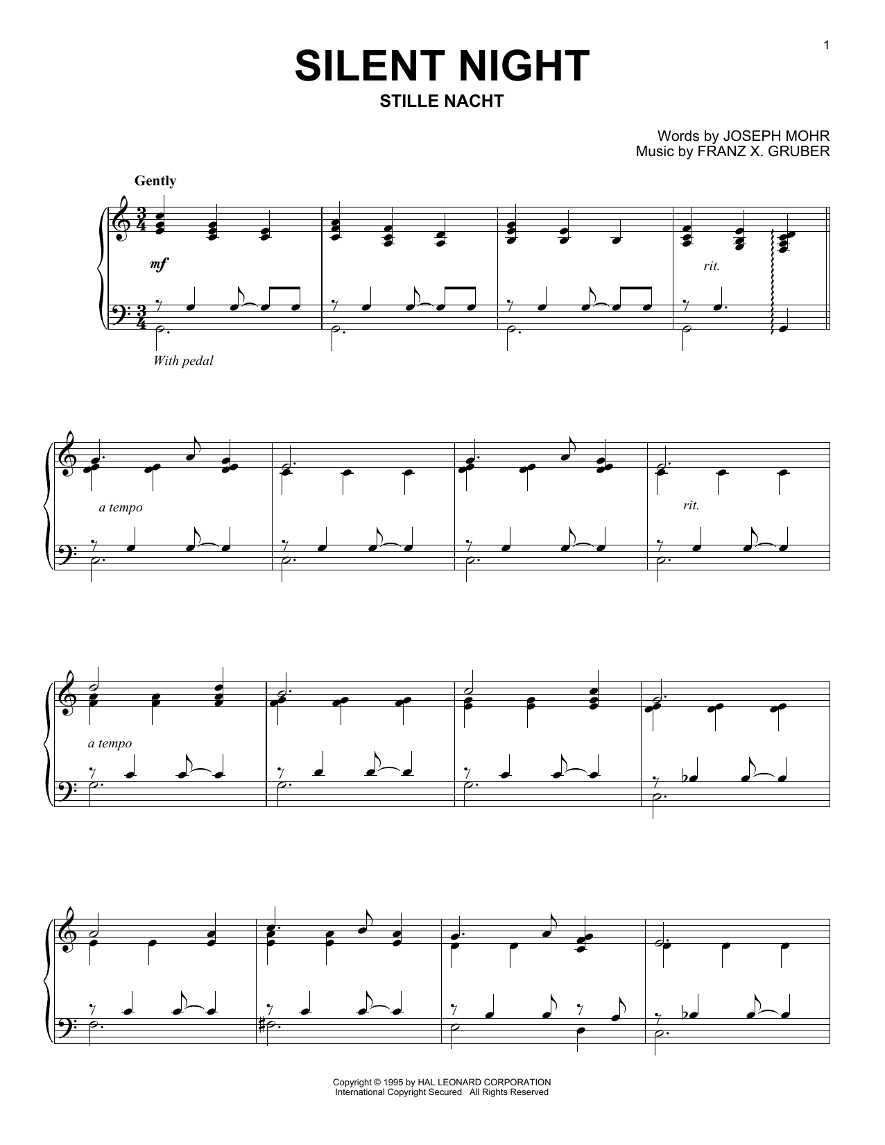 Download Franz Gruber 'Silent Night' Digital Sheet Music Notes & Chords and start playing in minutes