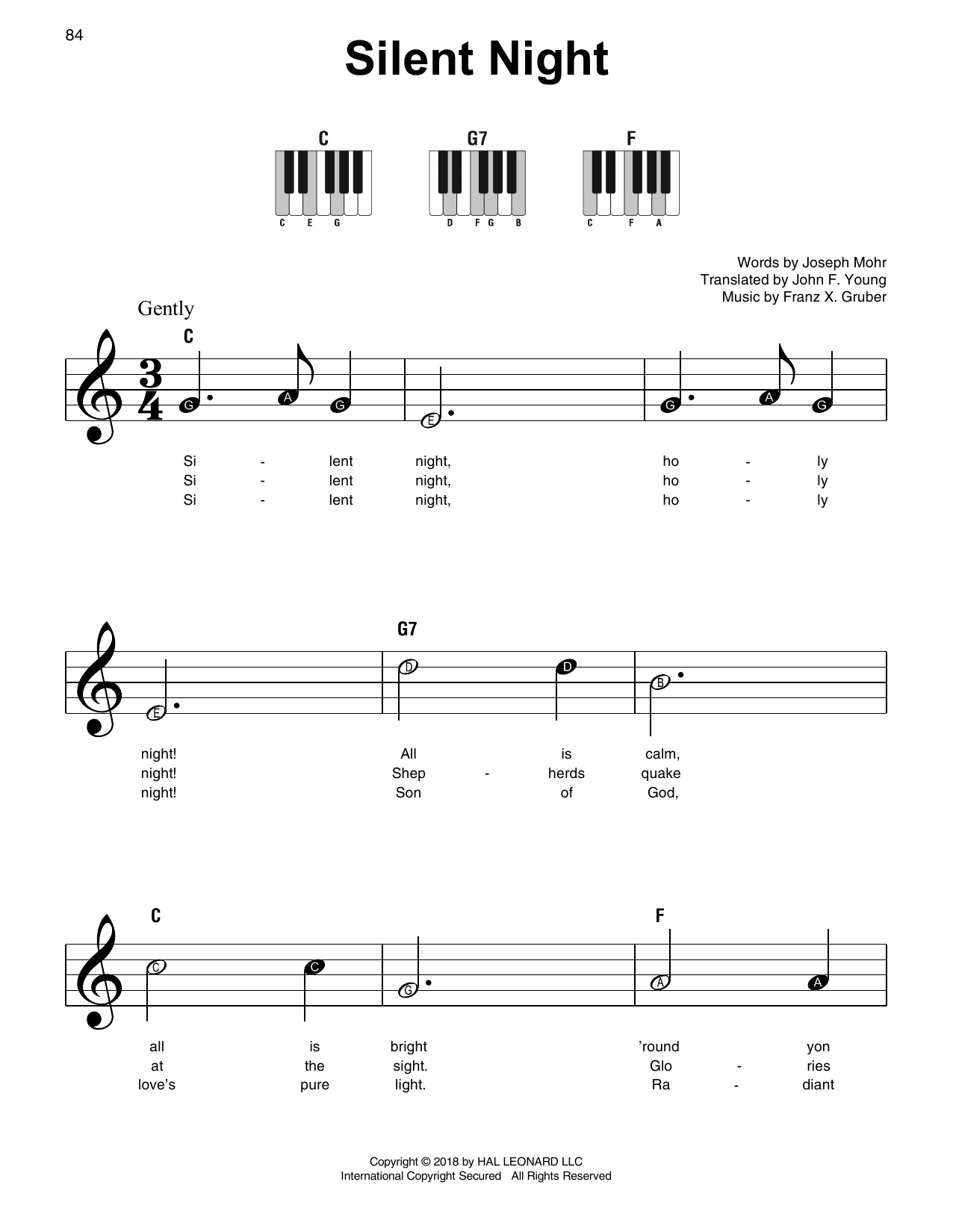 Franz X. Gruber Silent Night sheet music preview music notes and score for E-Z Play Today including 2 page(s)