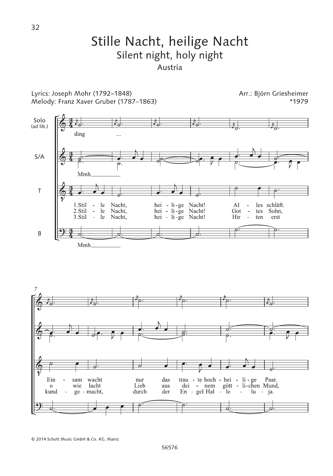 Franz Xaver Gruber Stille Nacht, Heilige Nacht sheet music preview music notes and score for Choir including 2 page(s)