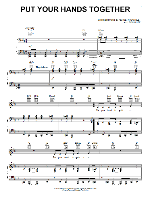Fred Hammond and Natalie Wilson Put Your Hands Together sheet music preview music notes and score for Piano, Vocal & Guitar (Right-Hand Melody) including 7 page(s)