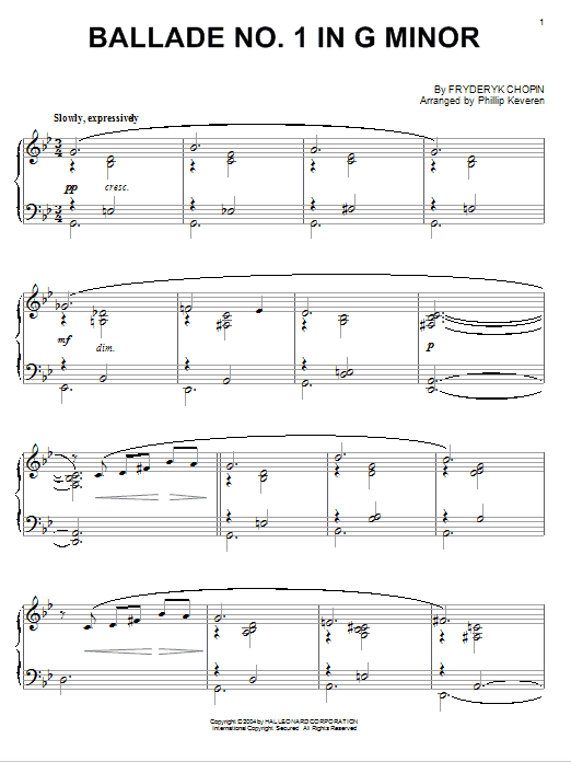 Download Frederic Chopin 'Ballade No. 1 In G Minor' Digital Sheet Music Notes & Chords and start playing in minutes