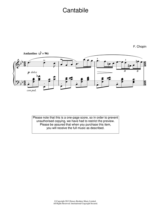 Frederic Chopin CantA Flatile in B Flat Major sheet music notes and chords