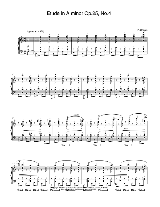 Download Frederic Chopin 'Etude in A Minor, Op.25, No.4' Digital Sheet Music Notes & Chords and start playing in minutes