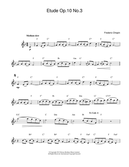 Frederic Chopin Etude in E Major, Op.10, No.3 (Tristesse) sheet music notes and chords