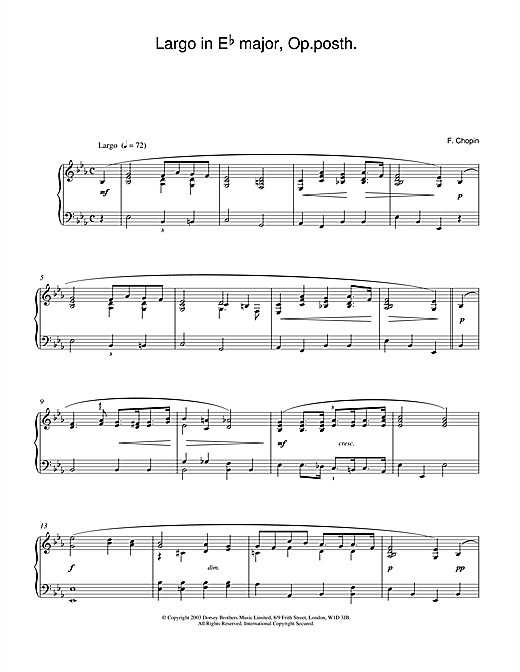 Frederic Chopin Largo in E Flat major, Op posth. sheet music notes and chords
