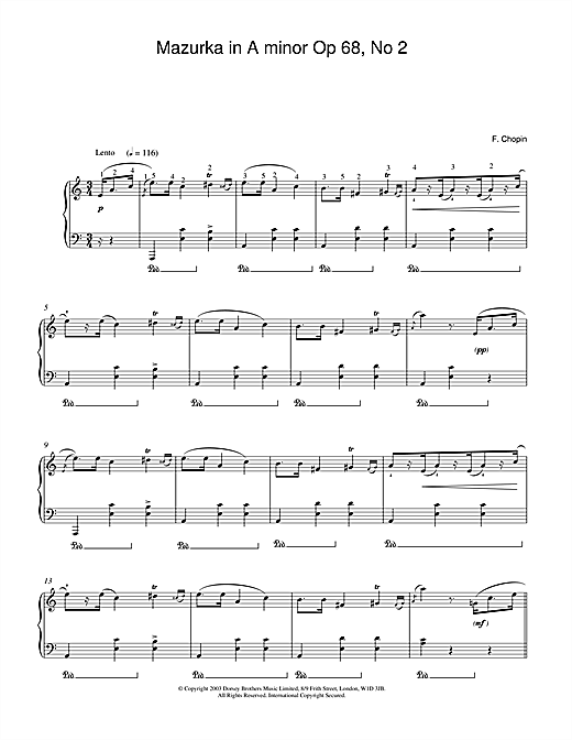 Frederic Chopin Mazurka in A minor Op.68, No.2 sheet music notes and chords