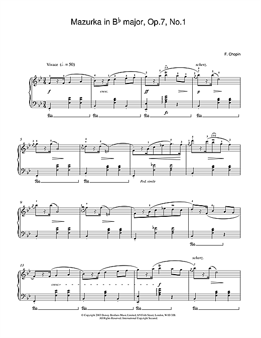Download Frederic Chopin 'Mazurka in B Flat major Op.7 No.1' Digital Sheet Music Notes & Chords and start playing in minutes
