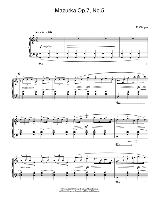 Download Frederic Chopin 'Mazurka in C Major, Op. 7, No. 5' Digital Sheet Music Notes & Chords and start playing in minutes