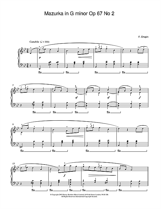 Download Frederic Chopin 'Mazurka in G minor Op.67, No.2' Digital Sheet Music Notes & Chords and start playing in minutes