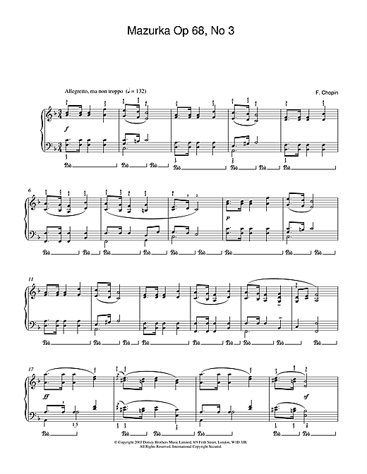 Download Frederic Chopin 'Mazurka Op.68, No.3' Digital Sheet Music Notes & Chords and start playing in minutes