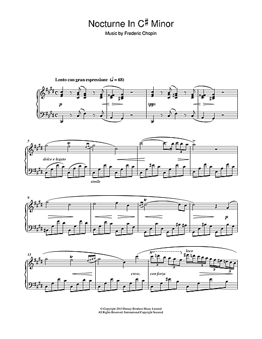Frederic Chopin Nocturne in C# minor (1830) sheet music notes and chords