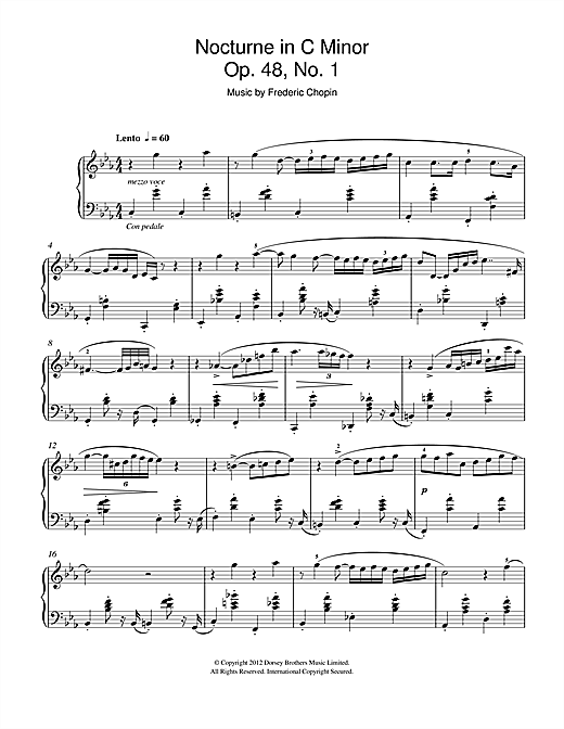 Download Frederic Chopin 'Nocturne In C Minor Op.48, No.1' Digital Sheet Music Notes & Chords and start playing in minutes