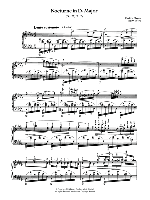 Download Frederic Chopin 'Nocturne In D Flat Major, Op.27 No.2' Digital Sheet Music Notes & Chords and start playing in minutes