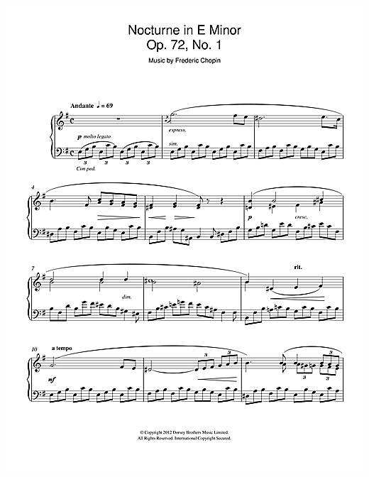 Download Frederic Chopin 'Nocturne in E Minor Op.72, No.1' Digital Sheet Music Notes & Chords and start playing in minutes