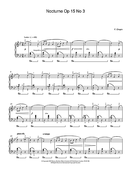 Frederic Chopin Nocturne Op 15 No 3 sheet music notes and chords