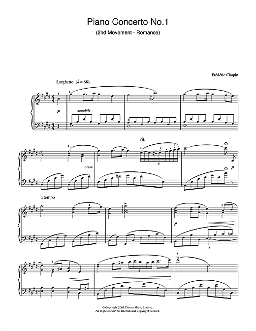 Download Frederic Chopin 'Piano Concerto No.1 (2nd Movement - Romance)' Digital Sheet Music Notes & Chords and start playing in minutes