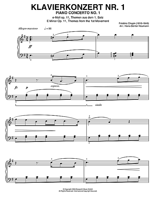 Download Frederic Chopin 'Piano Concerto No.1, Themes From The 1st Movement' Digital Sheet Music Notes & Chords and start playing in minutes
