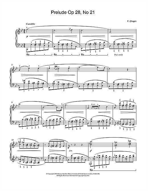 Frederic Chopin Prelude in B Flat Major, Op.28, No.21 sheet music notes and chords