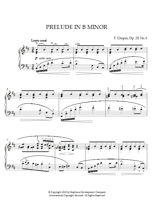 Download Frederic Chopin 'Prelude In B Minor, Op. 28, No. 6' Digital Sheet Music Notes & Chords and start playing in minutes