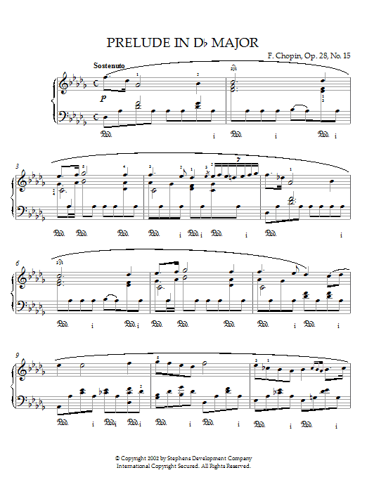 Frederic Chopin Prelude In D Flat Major, Op. 28, No. 15 (Raindrop) sheet music preview music notes and score for Piano including 6 page(s)