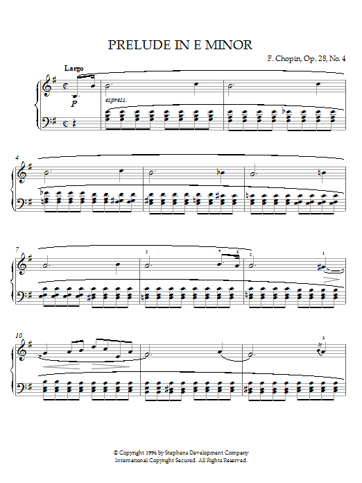 Frederic Chopin Prelude In E Minor, Op. 28, No. 4 sheet music preview music notes and score for Piano including 2 page(s)
