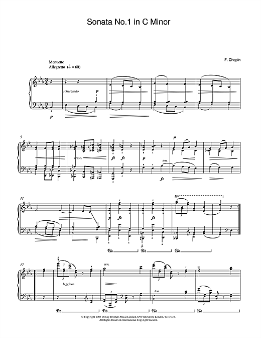 Download Frederic Chopin 'Sonata No.1 in C Minor (2nd Movement: Menuetto)' Digital Sheet Music Notes & Chords and start playing in minutes