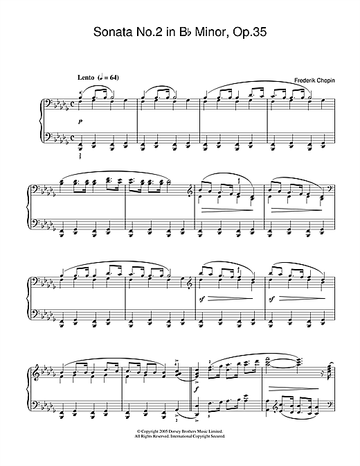 Download Frederic Chopin 'Sonata No.2 in B Flat Minor Op.35 (Funeral March)' Digital Sheet Music Notes & Chords and start playing in minutes
