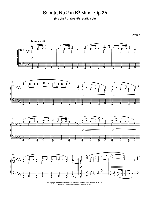 Frederic Chopin Sonata No.2 in B Flat Minor Op 35 (Funeral March) sheet music notes and chords