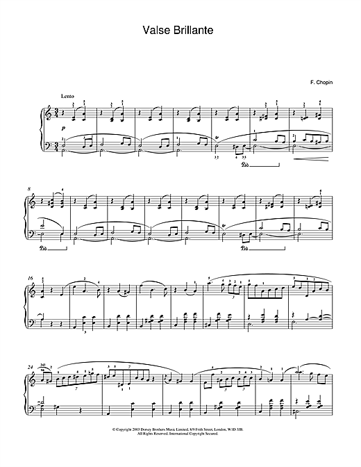 Frederic Chopin Waltz In A Minor, Op. 34, No. 2 (Valse Brillante) sheet music notes and chords