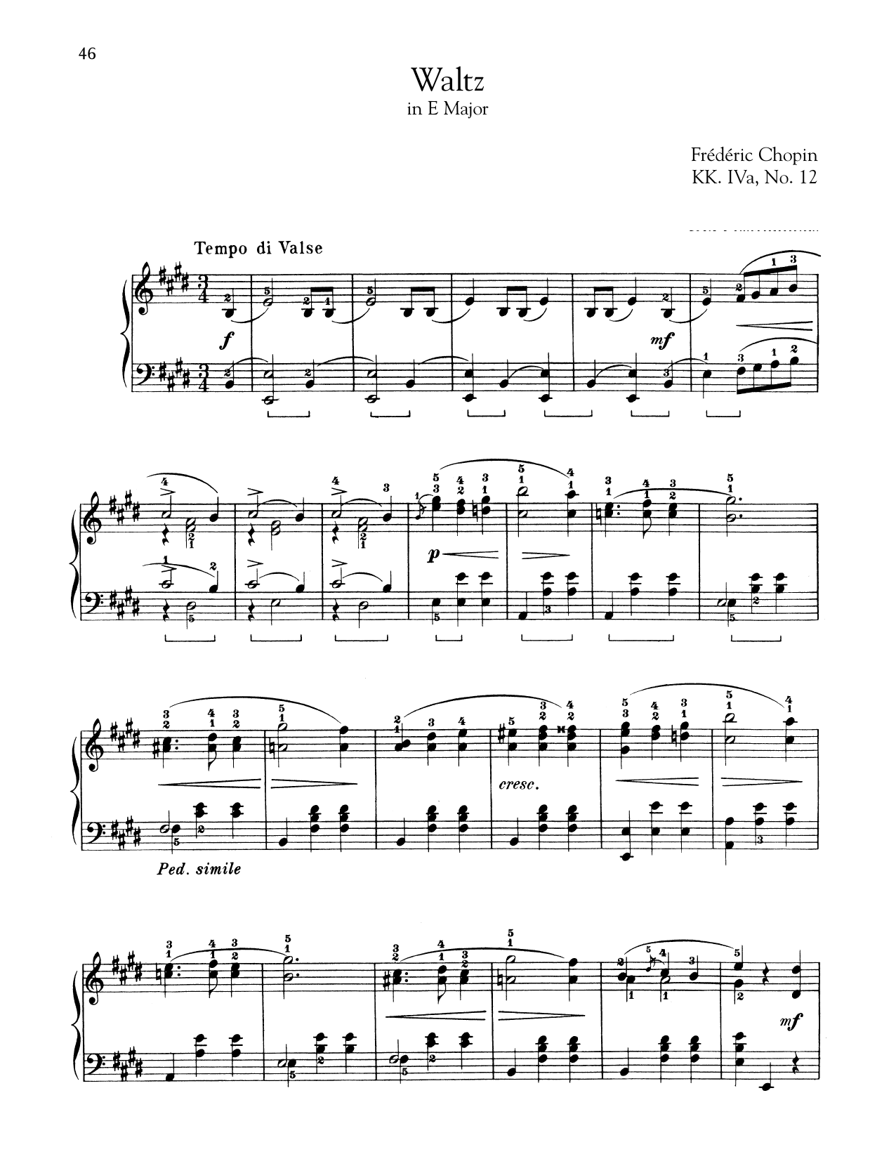 Download Frederic Chopin 'Waltz In E Major, KK. IVa, No. 12' Digital Sheet Music Notes & Chords and start playing in minutes