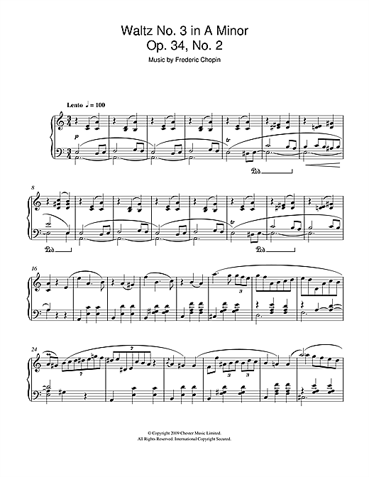 Download Frederic Chopin 'Waltz No.3 In A Minor, Op.34, No.2' Digital Sheet Music Notes & Chords and start playing in minutes