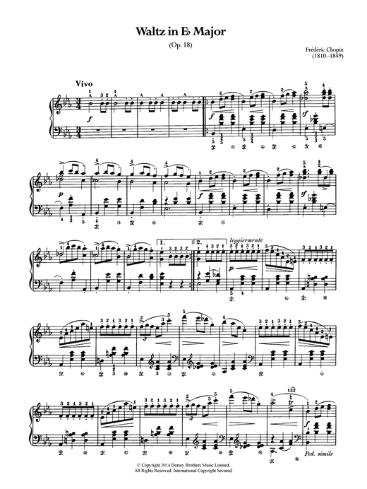 Download Frederic Chopin 'Waltz Op.18 (from 'Les Sylphides')' Digital Sheet Music Notes & Chords and start playing in minutes
