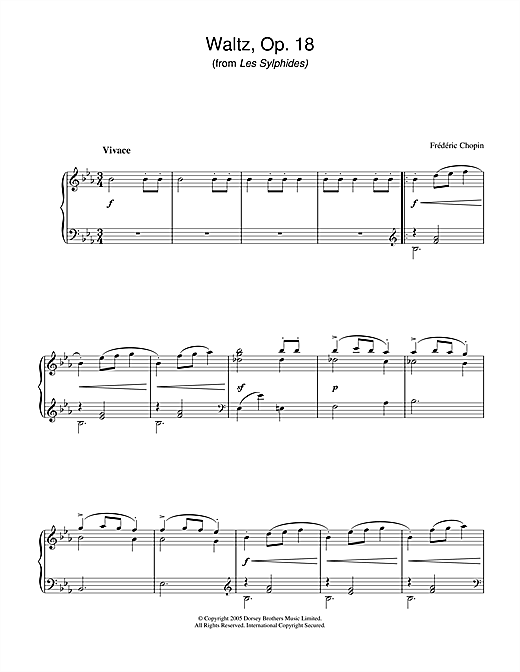 Download Frederic Chopin 'Waltz Op.18 (from Les Sylphides)' Digital Sheet Music Notes & Chords and start playing in minutes