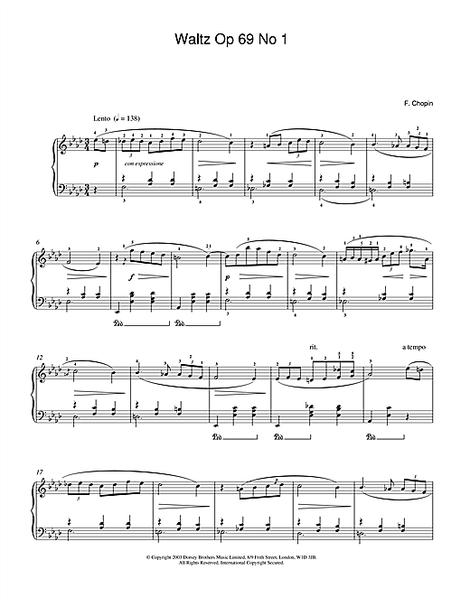 Download Frederic Chopin 'Waltz Op.69, No.1' Digital Sheet Music Notes & Chords and start playing in minutes