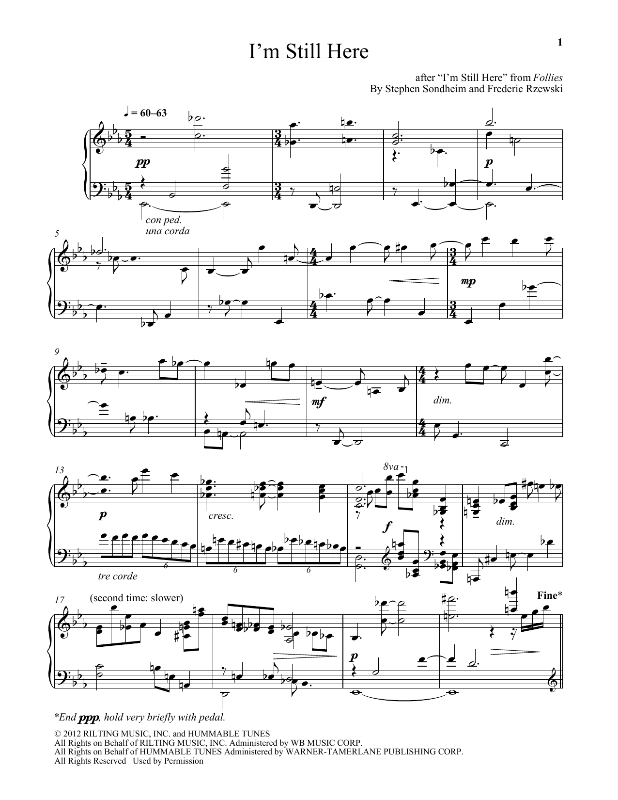 Download Frederic Rzewski 'I'm Still Here' Digital Sheet Music Notes & Chords and start playing in minutes
