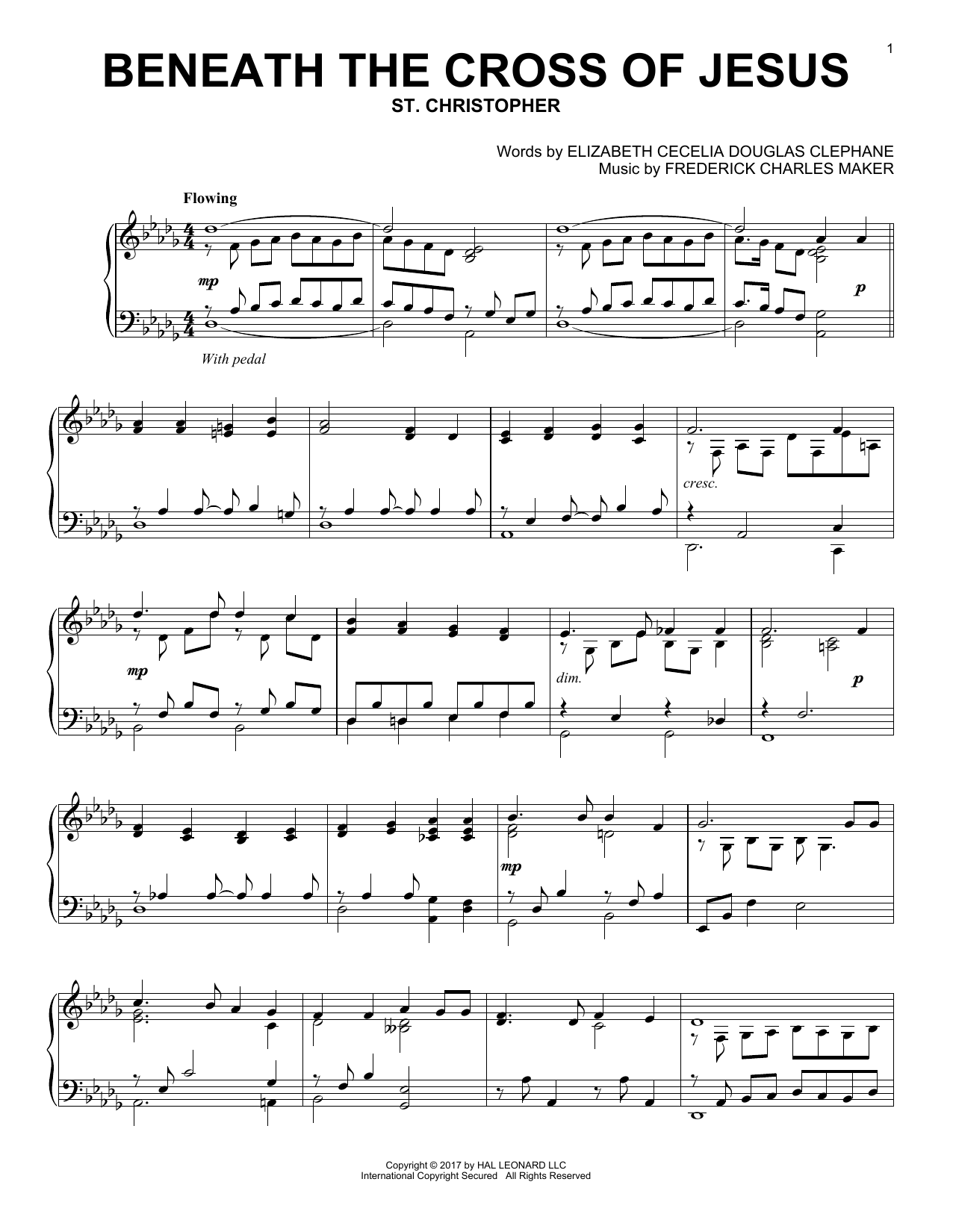 Download Frederick Charles Maker 'Beneath The Cross Of Jesus' Digital Sheet Music Notes & Chords and start playing in minutes