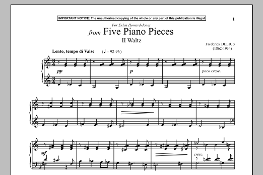 Download Frederick Delius 'Five Piano Pieces, II. Waltz' Digital Sheet Music Notes & Chords and start playing in minutes