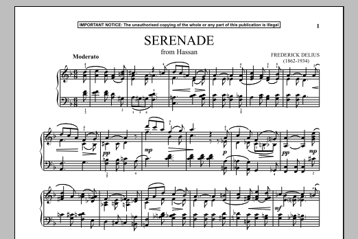 Frederick Delius Hassan, Serenade sheet music preview music notes and score for Piano including 1 page(s)