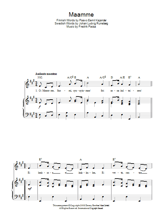 Fredrik Pacius Maamme (Finnish National Anthem) sheet music preview music notes and score for Piano, Vocal & Guitar (Right-Hand Melody) including 2 page(s)