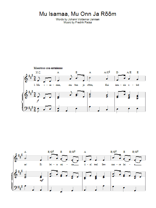 Fredrik Pacius Mu Isamaa, Mu Onn Ja Room (Estonian National Anthem) sheet music preview music notes and score for Piano, Vocal & Guitar (Right-Hand Melody) including 2 page(s)