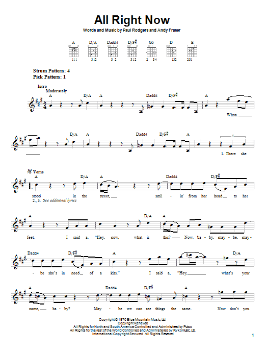 Free All Right Now sheet music preview music notes and score for Guitar Tab including 6 page(s)