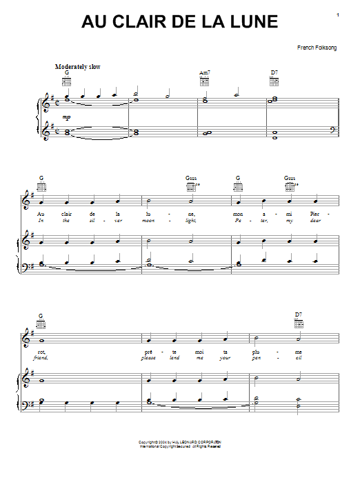 French Folksong Au Clair De La Lune sheet music preview music notes and score for Piano, Vocal & Guitar (Right-Hand Melody) including 2 page(s)