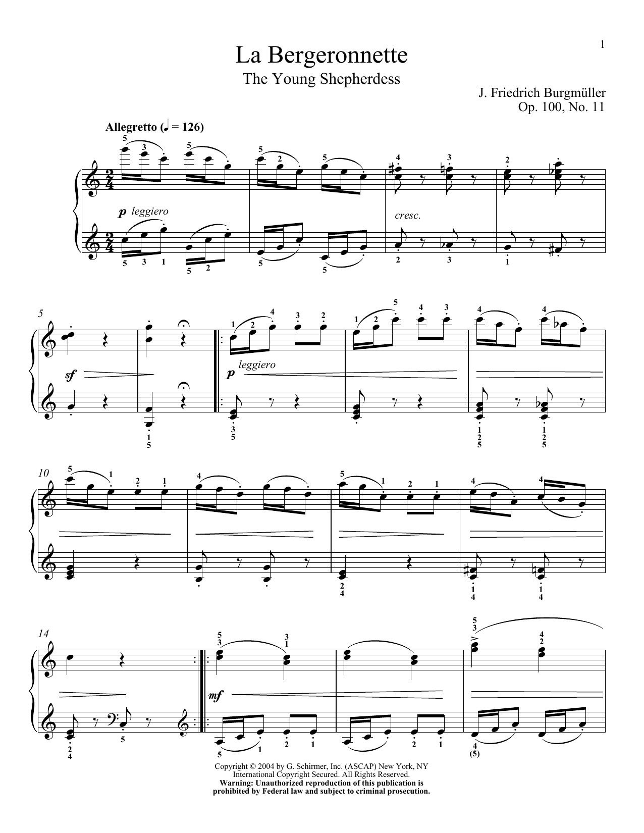 Download Friedrich Burgmuller 'The Wagtail (La Bergeronnette), Op. 100, No. 11' Digital Sheet Music Notes & Chords and start playing in minutes