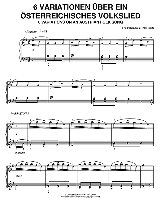 Download Friedrich Kuhlau 'Six Variations On An Austrian Folk Song' Digital Sheet Music Notes & Chords and start playing in minutes